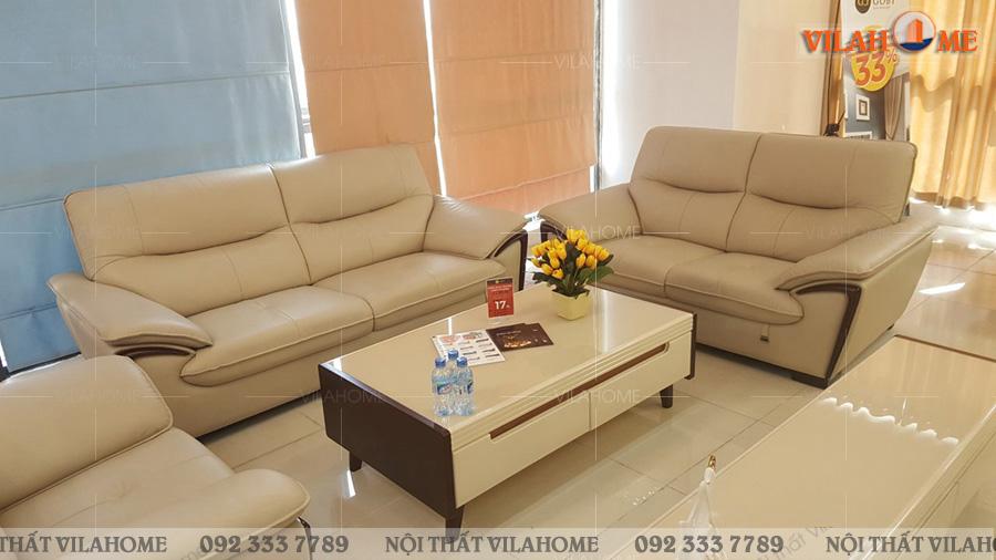 sofa da thật màu trắng